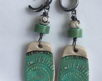 Nautilus shell pendant earrings