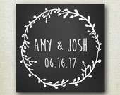 Laurel Chalkboard Wedding Favor Label // Personalized Label // Favor Box Label // Self Adhesive Labels - Round or Square