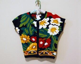 Vintage Sweater Madras Summer Cardigan