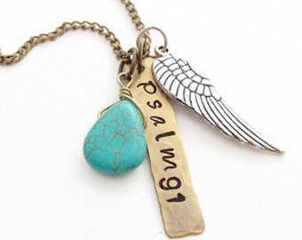 Psalm 91 Brass Handstamped Necklace Under His Wings