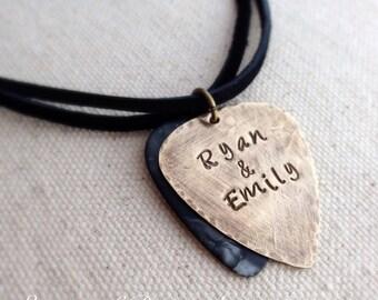 Secret Message Personalized Guitar Pick Necklace