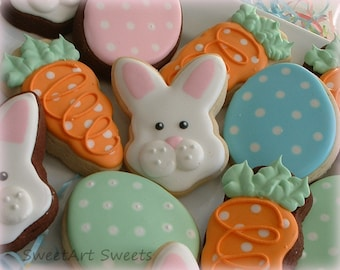Easter cookies - Egg cookies - Bunny cookies - Carrot cookies - holiday cookies - 1 dozen or 1/2 dozen option - decorated cookies