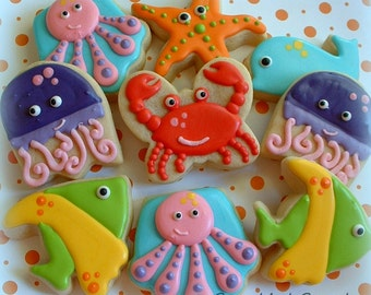 Sea Animal Cookies - Nautical Under the Sea Cookies - 1 dozen Birthday Cookies - Decorated Cookie Favors