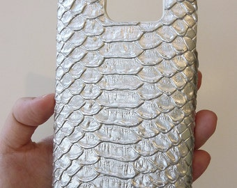 Samsung Galaxy S7 S 7 Silver Crocodile Leather Cell Phone Mobile Snap on Hard Case Cover