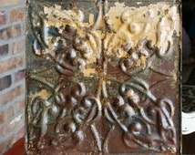 """Antique Ceiling Tile - 12"""" x 12"""" -- Beautiful Rusty Tan and Caramel Paint - Squiggle Design"""