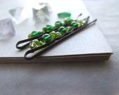 Emerald Green Bobby Pin Set, Delicate Green Hair Pins, Eco Friendly Delicate Nature Bobby Pin Set
