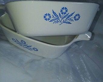 Vintage Corning Ware 4pc set BLUE CORNFLOWER Petite Pans p-41 & P-43  Personal Casseroles