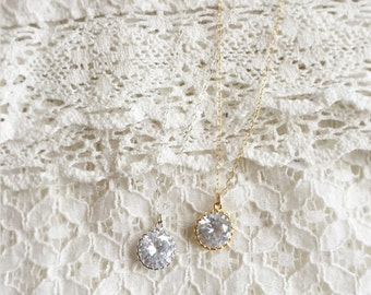 Moon flower  (necklace) - Vintage Cubic Zirconia round pendant in silver plated frame on dainty Sterling Silver chain