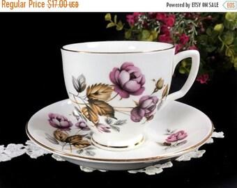 Tea Cup and Saucer, Sandford Purple Roses, Vintage English Bone China Teacup 12945