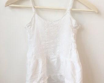 vintage white eyelet bohemian lace dress or top sz 3 to 4