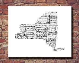 New York Print, New York Map, NY, State Art, State Map, Wedding, Personalized, Print, Custom, Cities, Art, Housewarming Gift, Travel Map