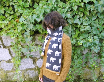 Scarf Alaska · 100% Merino Wool Scarf · Dark gray with mustard yellow ribbon · Polar bears pattern · Wool Scarves · Warm & soft wool scarves