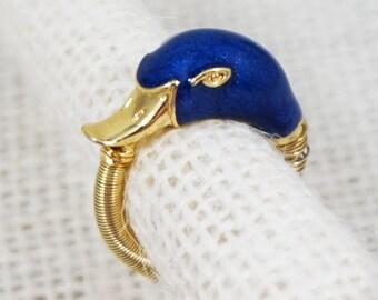 Designer Orena Paris Gold Tone and Blue Enamel Duck Ring Unique Spring Design