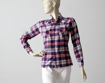 70s plaid cotton shirt, red white and blue button down