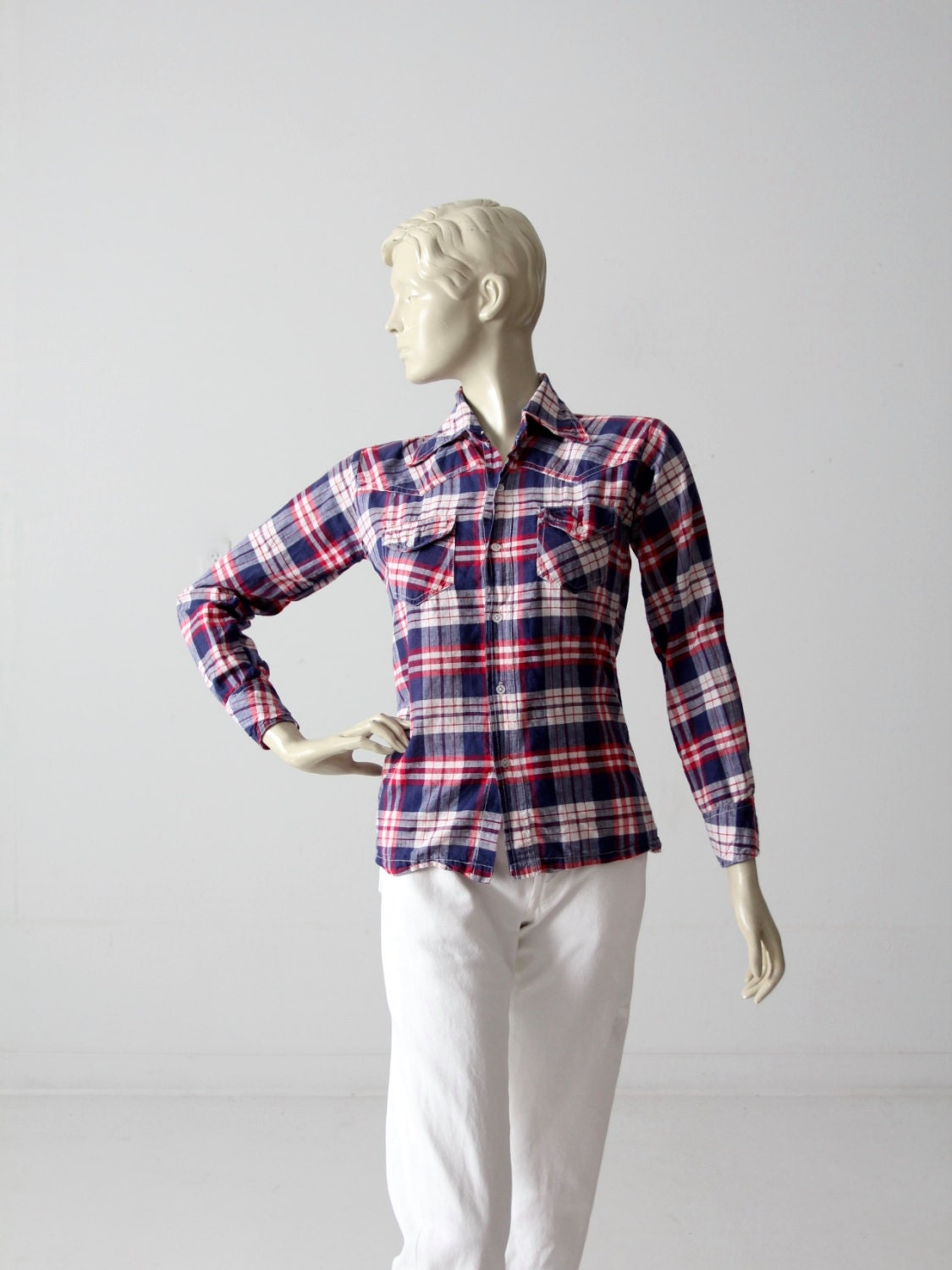 70s Plaid Cotton Shirt Red White And Blue Button Down