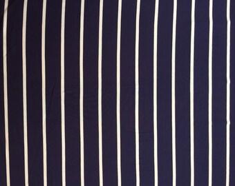 Navy Natural Stripe, Cotton Jersey KNIT by Pickering Fabrics, 1/2 yd of Navy Stripe KNIT