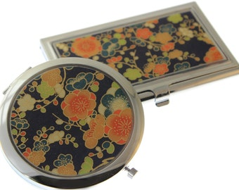 Navy and Orange Floral Chiyogami - Compact and Business Card Case Set
