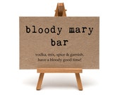 Bloody Mary Bar Sign, Brunch, Bridal Shower, Wedding Weekend, Party Signage, Rustic Wedding - Size 5 x 7 inches A7SIGN-KTP