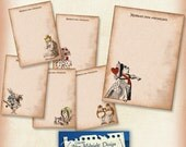 ALICE NOTECARDS Sepia Cards digital collage sheet, Vintage shabby chic notecards, Alice cards, Wonderland cards, Wonderland notecards, tags