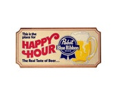 Vintage PABST Blue Ribbon Sign, Happy Hour Beer Sign, Cork Pabst Blue Ribbon Bar Sign, Bar Wall Decor