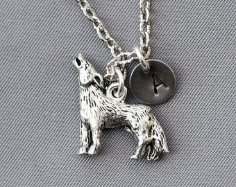 Wolf charm Silver Necklace, personalized necklace, initial necklace,initial necklace Necklace,Jewelry Gift,