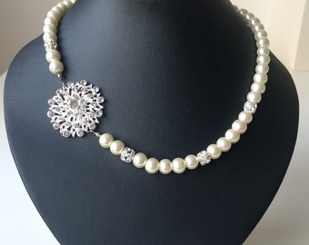 Pearl Bridal Necklace, Rhinestone and Pearl Necklace, Wedding Jewelry