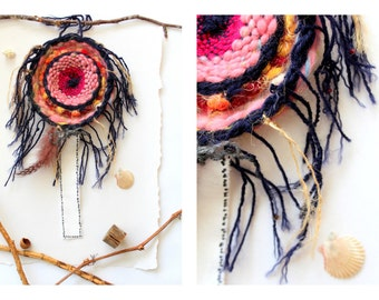 Handwoven  Dream Catcher blue rose