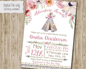 Boho Chic Baby Shower Invitation Tribal Teepee