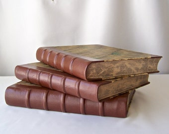 Vintage Leather Decorative Book Set War Diary 1945 Written in Danish Chocolate Brown Half Leather Spine History Buff