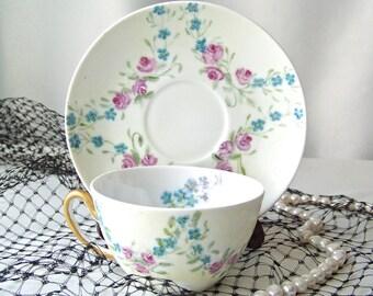 Vintage Teacup and Saucer JHR Bavaria Pink Roses Blue Alyssum Sprigs Vintage 1940s