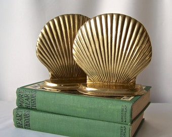 Vintage Brass Sea Shell Bookends Nautical Decor Library Bookshelf Office Decor 1960s