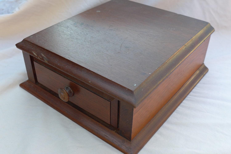 A single drawer vintage wooden desk organizer - Wood desk organizer with drawers ...