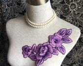 Vintage Applique - 1 pcs Purple Flower Applique for Altered Couture, Costume Design(A355)