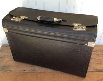 Large Vintage Leather Carrying Case - Large Laptop/Equipment Case