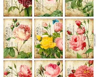 Heirloom Roses on Old Postcard  Digital Collage Sheet Instant Download Paper Crafts Original Whimsical Altered Art by GalleryCat CS6