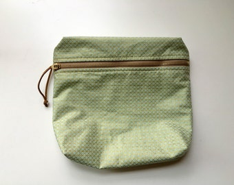 Mint and Gold Lined Makeup Bag with Brass Zipper