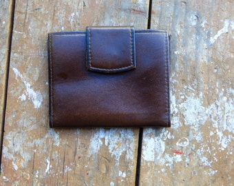 Vintage Leather Front Pocket Wallet - Brown Cowhide Wallet - Billfold