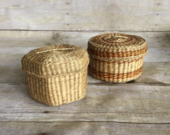 Two Small Woven Basket with lids