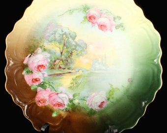 Antique Z. S. & CO. Bavaria Wall Cabinet Plate Landscape Roses Pretty!