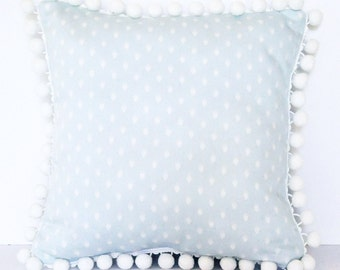 IKAT DIAMONDS PILLOW // Pale Blue and White Ikat with Pom Poms Pillow Cover, Pom Pom Pillow, Light Blue Pillow, Kids, Toss Pillow