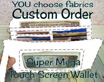 CUSTOM cell phone wristlet wallet • iphone • zip around wristlet • custom fabric • organizer wallet • Keep in Touch MEGA Wallet • (2b)