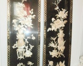 Pair of Vintage Lacquer Oriental Asian Abalone - Mother of Pearl- Wall Art