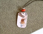 THE SWING Metal Charm with Manon Gauthier Illustration - Mixed Media Assemblage - Boho Chic Recycled Jewelry - Metal Tag