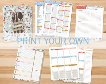 DIY Recipe Binder Printables, Print Your Own Inserts, Letter Sized 3 Ring Binder Kit, Home Organizer