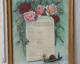 Memorial paper - rose graphics - quill and pen signatures - Dutch