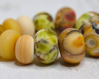 lamp work beads... SRA handmade, lampwork beads, mixed fall colors, multicolor beads set of (12) for making jewelry 100716-1