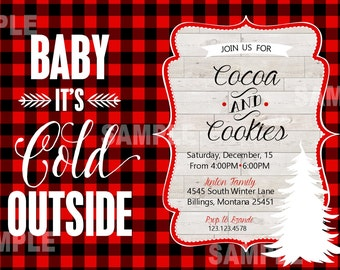 Cookies & Cocoa Party, Baby It's Cold Outside, Buffalo check, red, black and white, wood grain