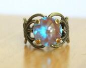 Lotus Saphiret Ring - Large Unusual Faceted Saphiret Saphirine Domed Glass