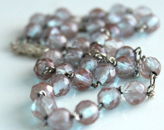 Saphiret Necklace - Repurposed Vintage Rosary Beads