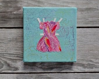 Mixed media collage art, paper dolls fashion wall art, colorful art, original canvas art, small original painting, shabby chic home decor
